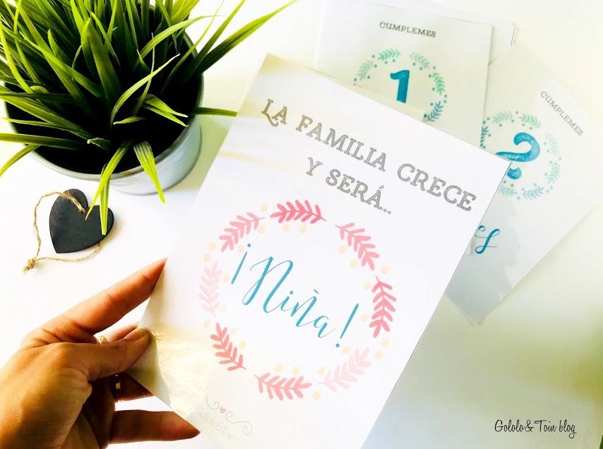 Tarjetas imprimibles de cumplemes para fotos de bebés