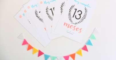 Tarjetas cumple mes del bebé