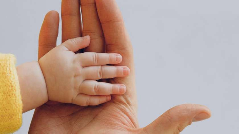 crop person touch palms with newborn baby on gray backdrop